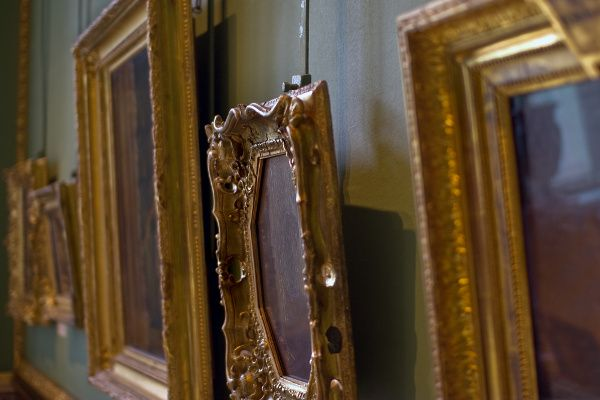 Photo of pictures in frames.