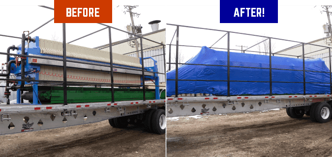 An image showing machinery on a trailer both before and after it was shrink wrapped.